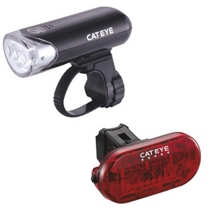 Cateye El135 Front Light & Omni 5 Rear Light Set