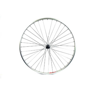 WILKINSON 700C FRONT WHEEL - HYBRID SILVER SINGLE WALL RIM - Q/R HUB SILVER SPOKES, 36 HOLE