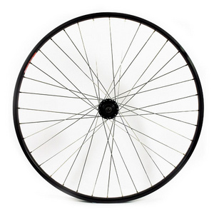 WILKINSON 700C REAR WHEEL - HYBRID BLACK DOUBLE WALL RIM - DISC/V-BRAKE Q/R 8/9/10 SPEED DISC HUB 135MM BLACK SPOKES, 36 HOLE