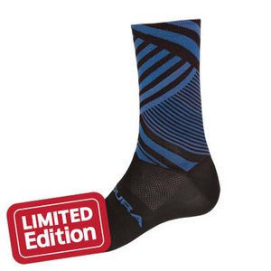 Endura Oblixe Graphic Sock: Blue, mens