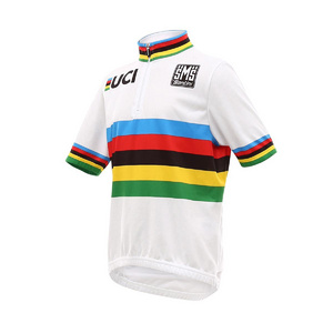 SANTINI UCI WORLD CHAMP ROAD KIDS 14CM ZIP SHORT SLEEVE JERSEY