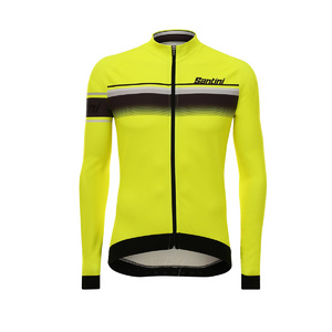 Santini Sleek Lombardia Aquazero Long Sleeve Race Jersey Fluro Yellow