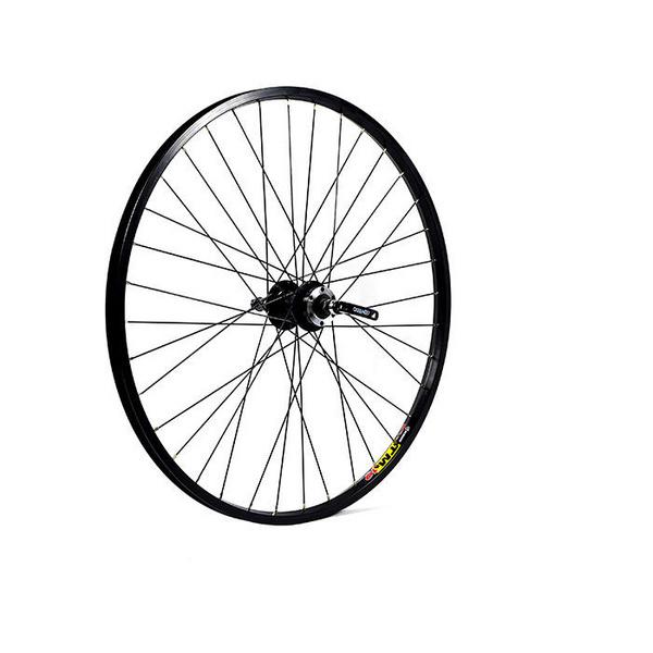 26 x 1.75 alloy 6 bolt disc or rim brake QR freewheel 135 mm black rear wheel