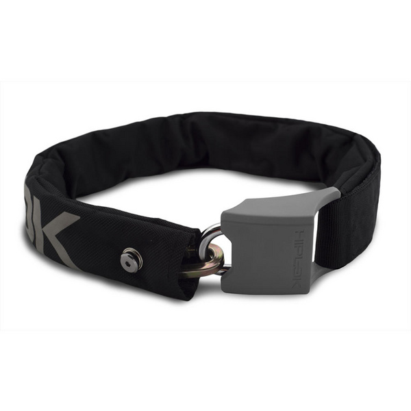 Hiplok V1.5 Wearable Chain Lock 8mm x 90cm - waist 24-44 inches (Silver Sold Secure) Black/Reflective Grey