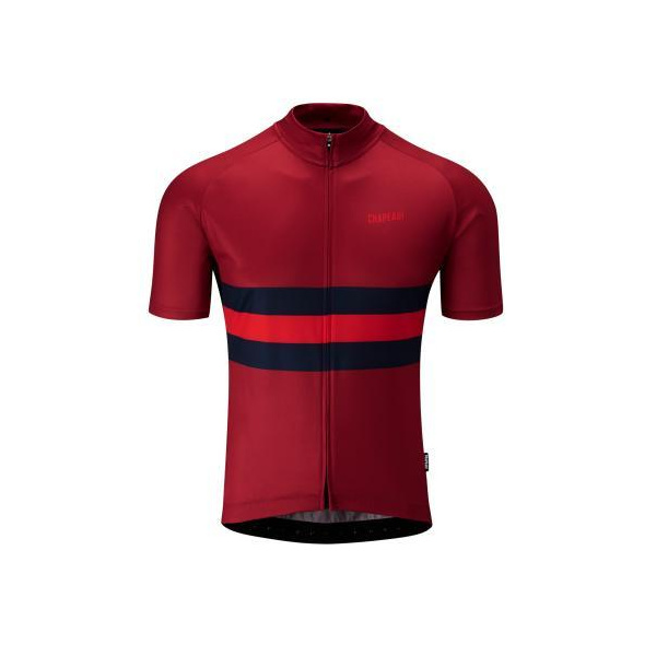 Chapeau! Mens Tempo Hoop Stripe Jersey  Devon Red Large