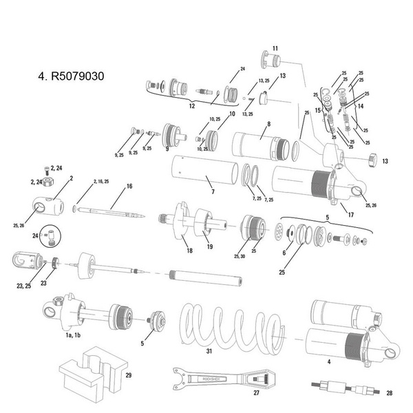 RockShox Damper Body/Reservoir Assy Vivid R2C 2011 240x76mm (Compatible w/09-10)