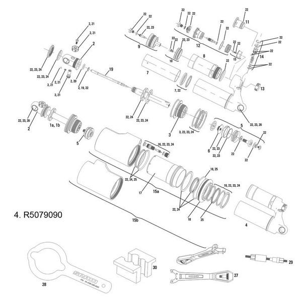 RockShox Damper Body/Reservoir Assy Vivid Air R2C 2011 200x57/203x57mm