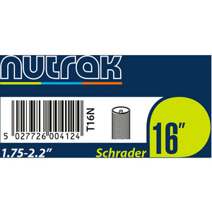 16 x 1.75 - 2.125 inch Schrader inner tube