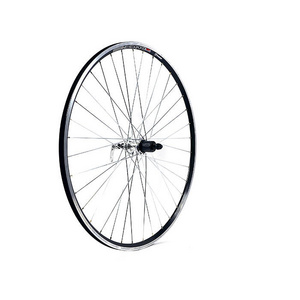 700C x 13 mm silver hub 36 hole QR axle cassette 130 mm black rim rear wheel