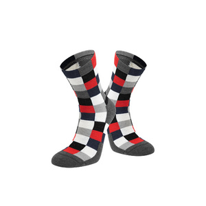 Chequered Merino Sock, Red, Medium