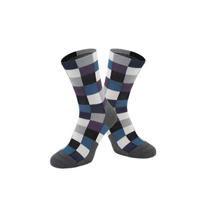 Chequered Merino Sock, Teal, Medium