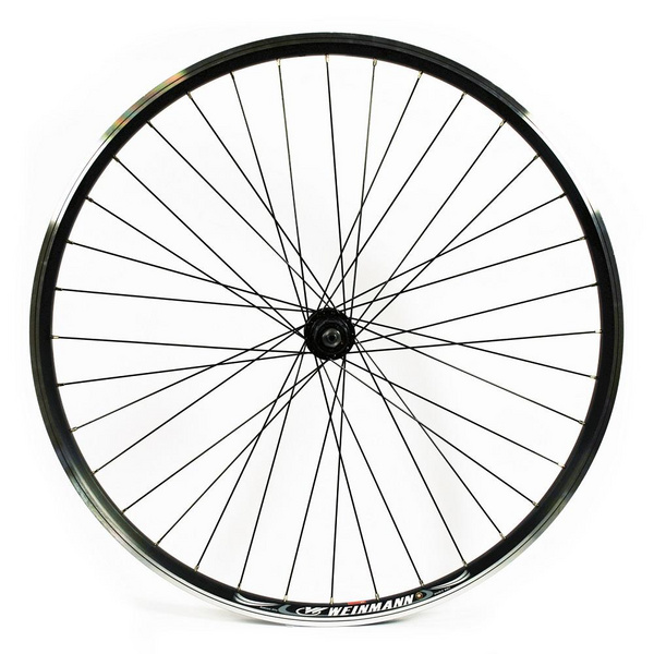 WILKINSON 700C REAR WHEEL - HYBRID BLACK DOUBLE WALL RIM - V-BRAKE Q/R SHIMANO 8/9/10 SPEED HUB 135MM BLACK SPOKES, 36 HOLE
