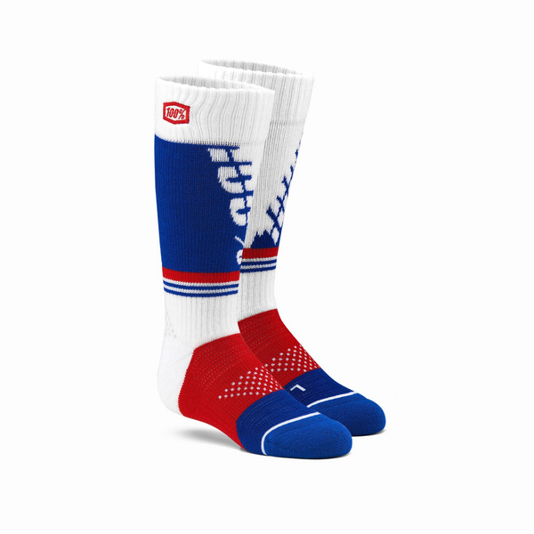 100% TORQUE Youth Moto Socks White L / XL