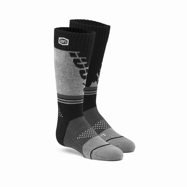 100% TORQUE Youth Moto Socks Black / Grey L / XL
