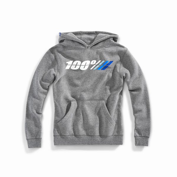 100% MOTORRAD Youth Hooded Pullover Sweatshirt Gunmetal Heather M