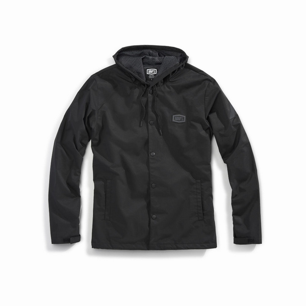 100% APACHE Hooded Snap Jacket Black XL