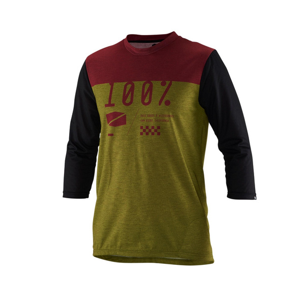 100% Airmatic ¾ Sleeve Jersey Olive XL