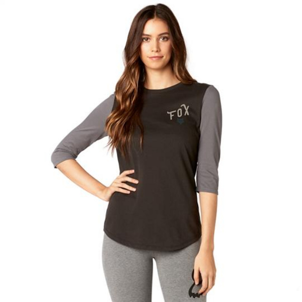 Fox Womens Currently 3/4 Sleeve Airline Top BLK S