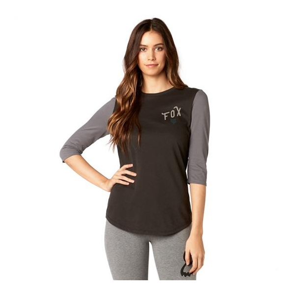 Fox Womens Currently 3/4 Sleeve Airline Top BLK XL